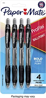 Paper Mate Profile Retractable Ballpoint Pens, Bold Point, Black, 4 Pack