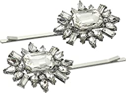 Two-Piece Jeweled Floral Design Hair Pin