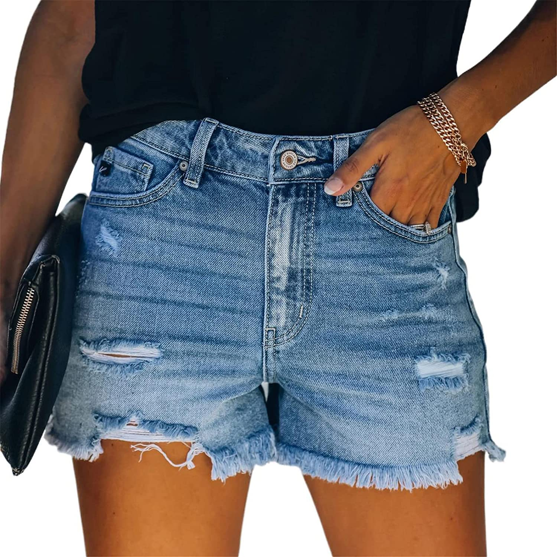 BEUU Womens Mid Rise Distressed Casual Cut Off Ripped Jeans Denim Shorts Frayed Raw Hem Summer Beach Hot Shorts