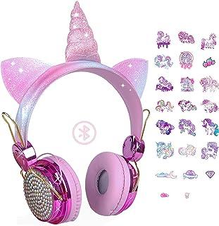Unicorn Gifts - Auriculares inalámbricos Bluetooth con micrófono ajustable, para niñas, adolescentes, escuela, Kindle Tablet PC (oro rosa)