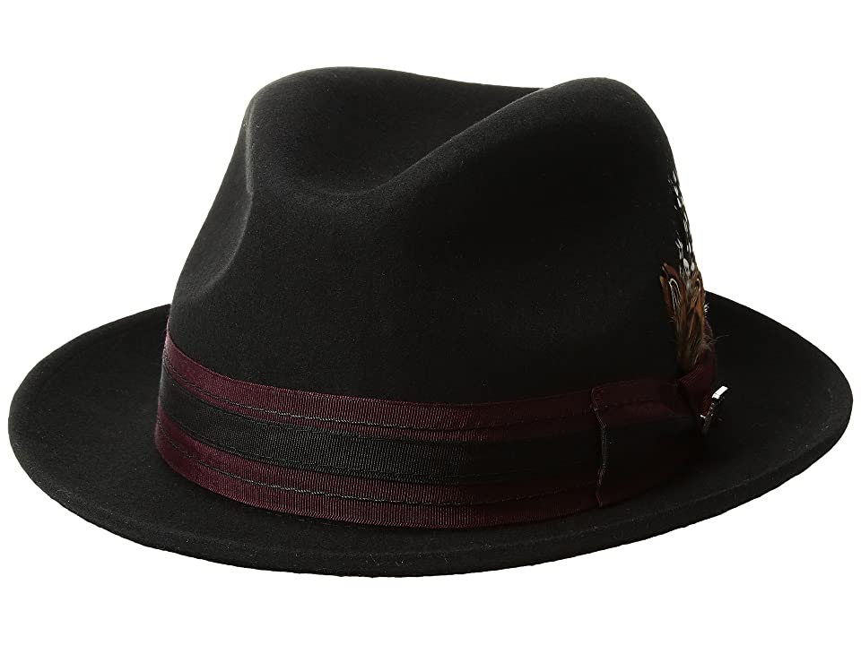Stacy Adams Pinch Front Wool Fedora (Black 2) Fedora Hats