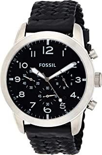Fossil Men's Fs5181 Pilot 54 Chronograph Black Leather Watch, Analog Display
