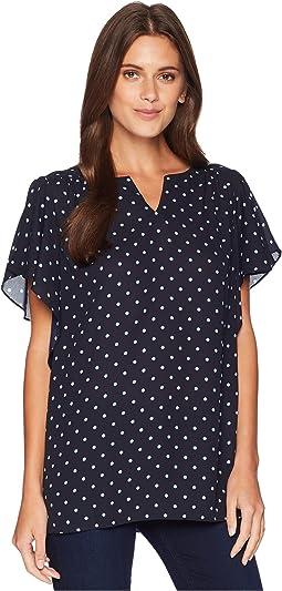 Plus Size Flutter Sleeve Romantic Dots V-Neck Blouse