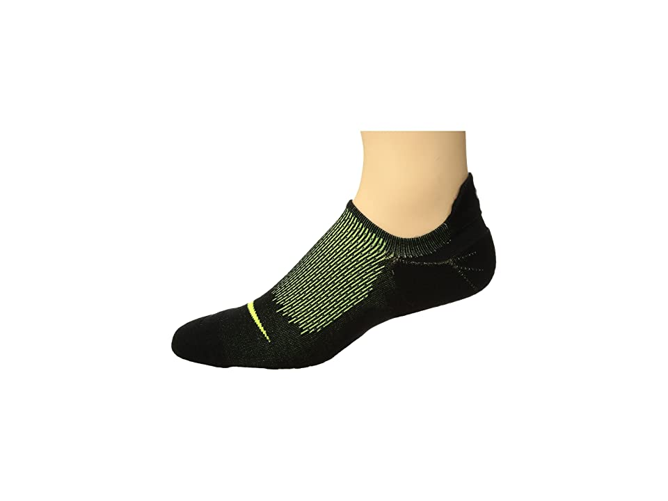 Nike Elite Cushioned Running No Show Socks (Black/Volt/Volt) No Show Socks Shoes