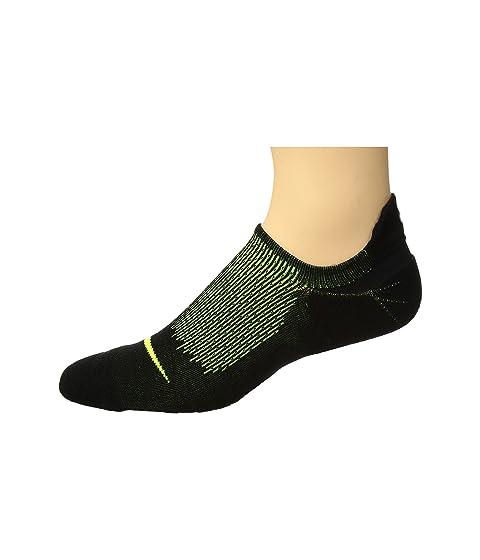 Elite Cushioned Running No Show Socks, Black/Volt/Volt