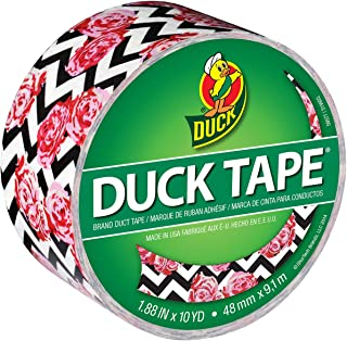 Duck Brand 283927 Printed Duct Tape, Flower Chevron, 1.88 Inches x 10 Yards, Single Roll