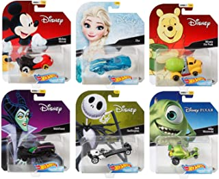2018 Hot Wheels Set of 6 Disney 1/64 Character Cars Collectible Die Cast Toy Cars, with Michey Mouse, Elsa, Winnie The Pooh, Maleficent, Jack Skellington, Mike Wazowski.