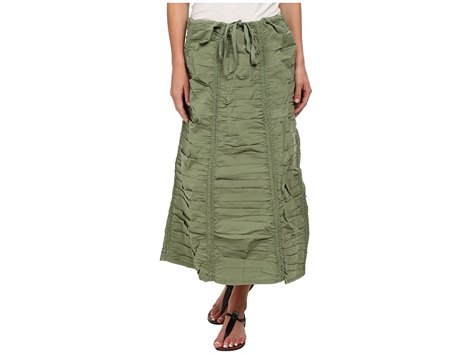 XCVI Stretch Poplin Double Shirred Panel Skirt (Meadow) Women