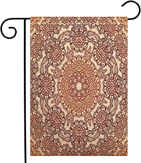 BEIVIVI Custom Double Sided Seasonal Garden Flag Ethnic Vintage Round Pattern Ethnic Mehndi Style Brown Tones Spring Garden Flag Waterproof for Party Holiday Home Garden Decor, Polyester 12 x 18 inch