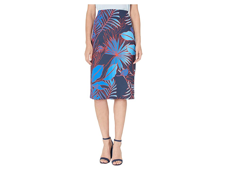 eci Floral Tropical Print Scuba Pencil Skirt (Navy/Blue) Women