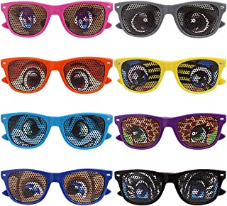 Ava & Kings 8 pc Mixed Color Cartoon Eye Decal Childrens Party Sunglasses