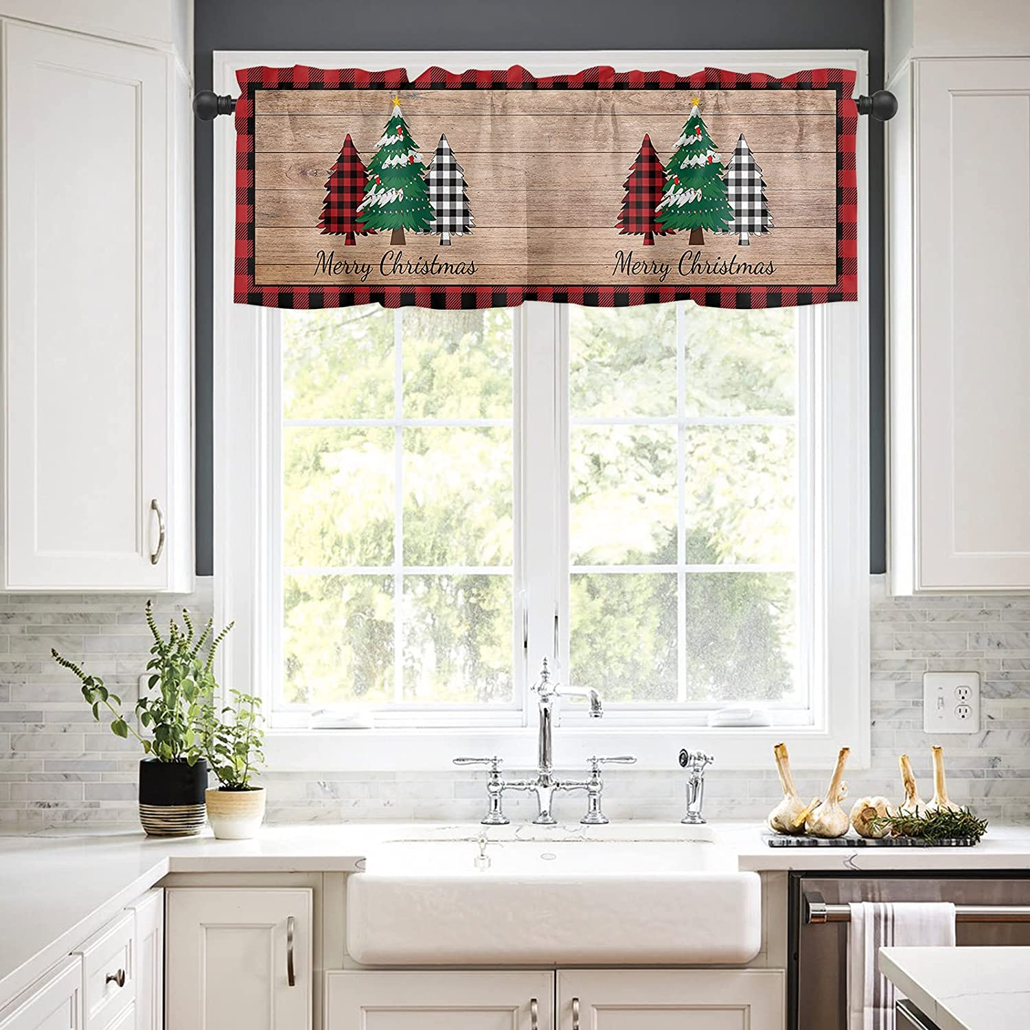Rod Pocket Window Valances Curtains T Fort Worth Mall for Kitchen Pine NEW before selling Christmas