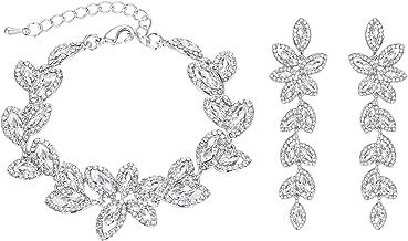 BriLove Women's Wedding Bridal Crystal Multi Marquise-Shape Leaf Tennis Bracelet Dangle Earrings Set