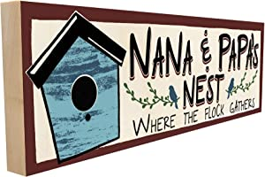 Nana and Papa's Nest. Where The Flock Gathers. Hand-Crafted in Tennessee, this custom Wood Block Sign measures 4X12 Inches. An Authentic, American Made Gift for Family or Friend.