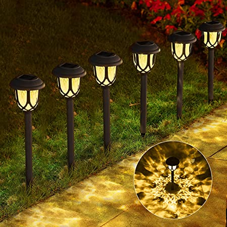 Solar Lights Outdoor Path, Solar Path Lights, Solar Powered Garden Courtyard Lights for Sidewalk Driveway, 20-25 lumens (Warm White 6-Pack)