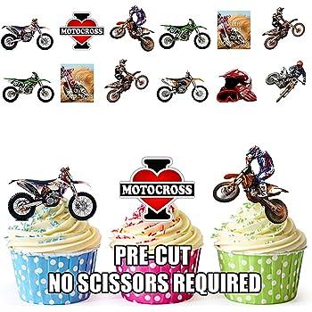 Cercles Moto GP 24/personnalis/é comestible pour cupcakes//d/écorations de g/âteau danniversaire/ /Facile pr/éd/écoup/ée