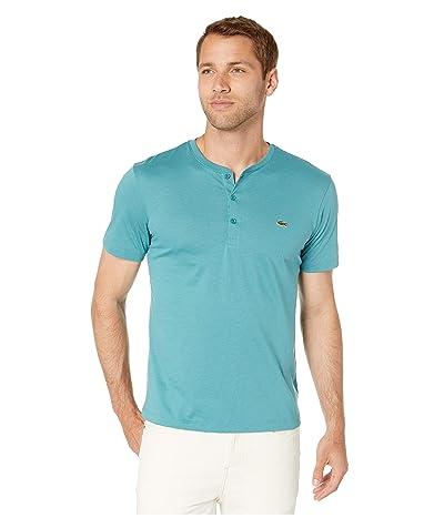 Lacoste Short Sleeve Regular Fit Pima Henley (Tide Blue) Men