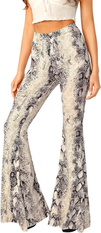 WDIRARA Women's Snakeskin High Waist Casual Flare Bell Bottom Stretch Long Pants