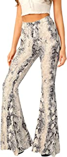 Women's High Waist Casual Snakeskin Long Pants Stretchy Flare Trousers