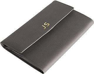 Monogrammed Saffiano Leather Travel Jewelry Case Organizer Grey