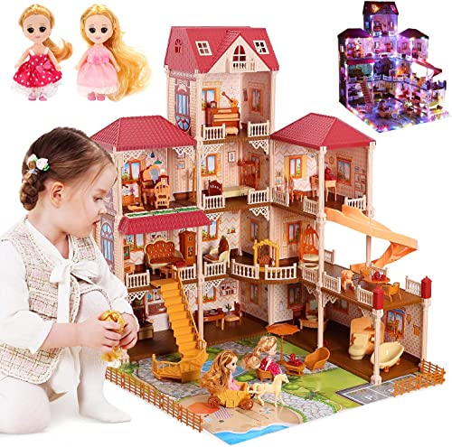 """high quality CUTE high quality STONE 11 Rooms Huge Dollhouse with 2 Dolls and Colorful Light, 34"""" x 32"""" x high quality 28"""" Dream House Doll House Dreamhouse Gift for Girls outlet sale"""