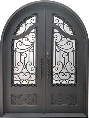ALEKO IDR7296BZ02 Iron Round Top Baroque-Inspired Dual Door with Frame and Threshold 72 x 96 Inches Aged Bronze