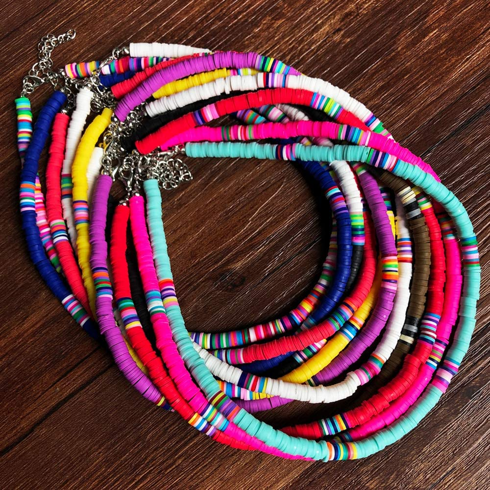 The Woo's 3 PCS Lightweight Colorful African Vinyl Disc Beads Necklace Boho Handmad Soft Pottery Clay 6mm Beads Surfer Choker Beach Collar Necklace for Women Girl Holidays Jewelry