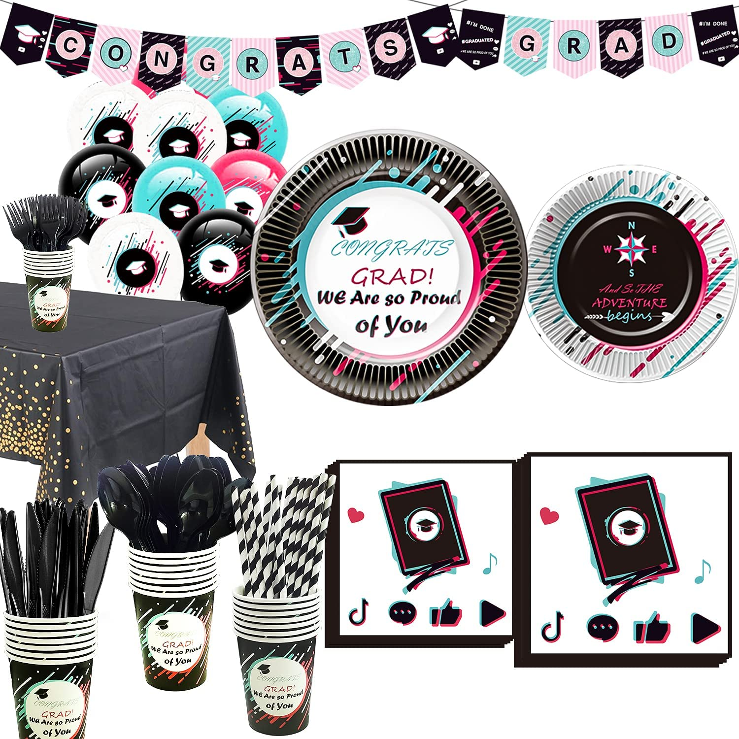 Graduation Party Supplies 2021 - Graduations Tableware Set Including Grad Banner, Paper Plates, Cups, Napkins, Balloons, Tablecloth, Cutlery, Straws, for Graduation Decorations 2021 | Serves 24: Kitchen & Dining