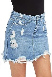 Women's Lovely High Waist Perfect 5 Pocket Fringed Denim Short Skirt