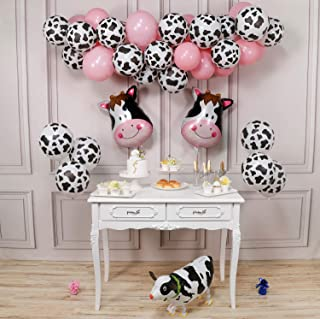 PartyWoo Cow Party Balloons, 58 Pcs Farm Party Balloons Set of Cow Foil Balloons, Cow Print Balloons, Baby Pink Balloons, Walking Cow Mylar Balloon for Farm Birthday Party, Farm Animal Theme Party