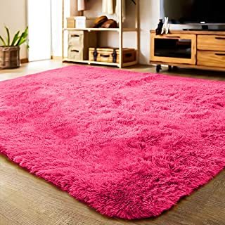 LOCHAS Soft Indoor Modern Area Rugs Fluffy Living Room Carpets Suitable for Children Bedroom Decor Nursery Rugs 4 Feet by 5.3 Feet (Rose Red)