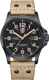 ساعة رجالي من لومينوكس مطبوع عليها Atacama Field Day Date - 1925- ستانلس ستيل أسود مينا سوداء بسوار من الجلد البني