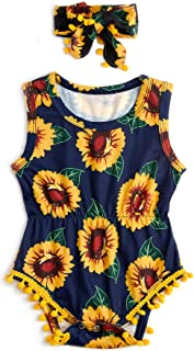 Newborn Toddler Baby Girl Floral Sleeveless Bodysuit Romper Jumpsuit Outfit Set Casual Clothes with Headband