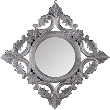 """The Urban Store Decorative Hand Crafted Wooden Mirror Frame in Distressed Grey Finish (20""""x20"""")"""