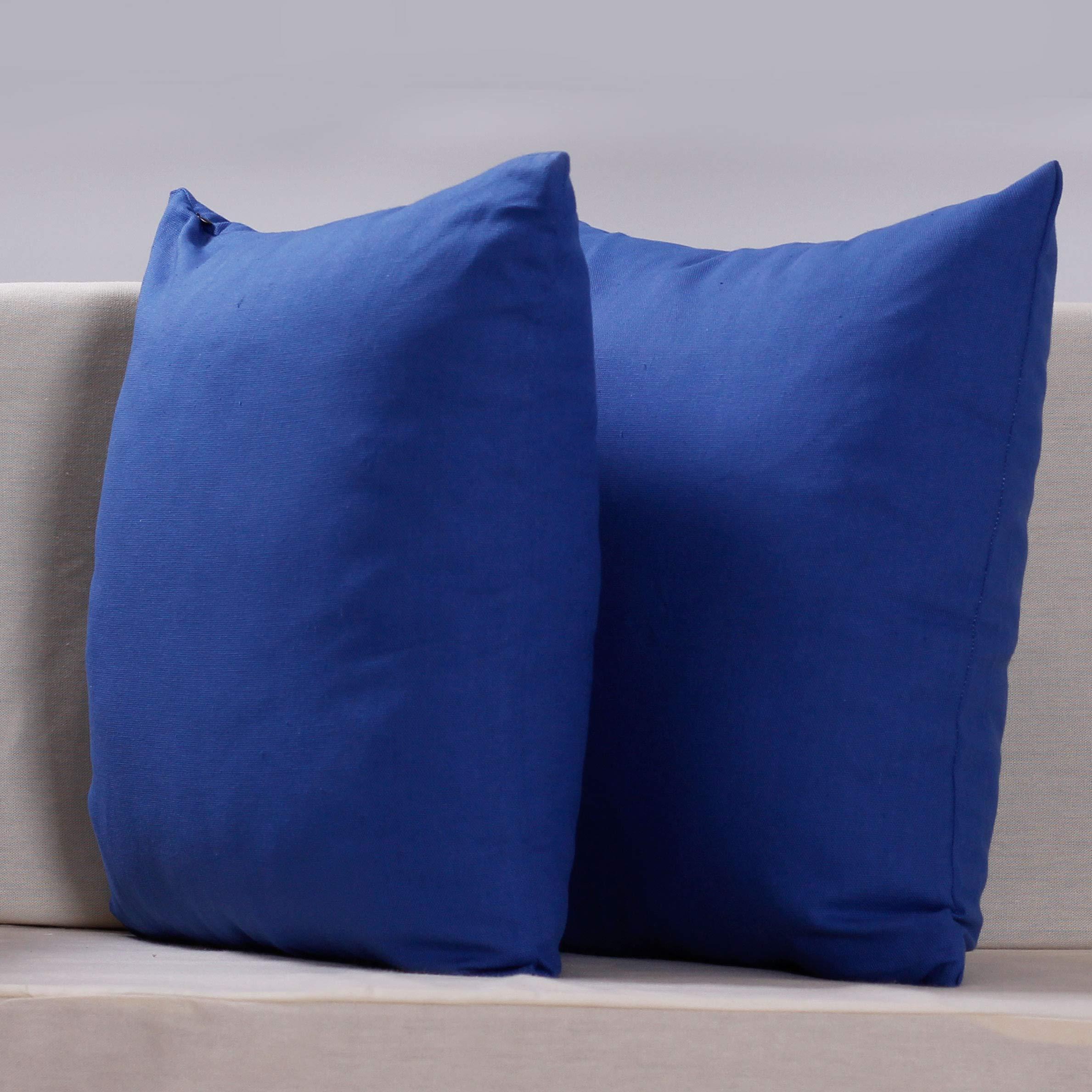PimpamTex Pack de 2 Fundas de Cojín Decorativo Lino Algodón Suave, Cuadrado 45x45 cm, Funda de Almohada para Cama, Sofá, Silla o Dormitorio, Modelo Half Panamá – (45 x 45 cm, Azulina): Amazon.es: Hogar