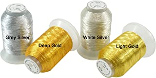 New Brothread 4pcs (2 Gold+2 Silver Colors) Metallic Embroidery Machine Thread Kit 500M (550Y) Each Spool for Computerized Embroidery and Decorative Sewing