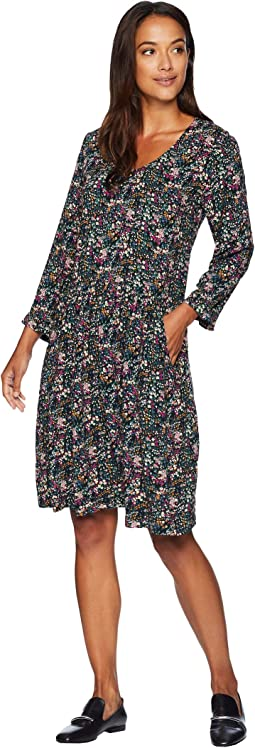 Printed Rayon Challis 3/4 Sleeve Easy Fit Dress with Front Pockets