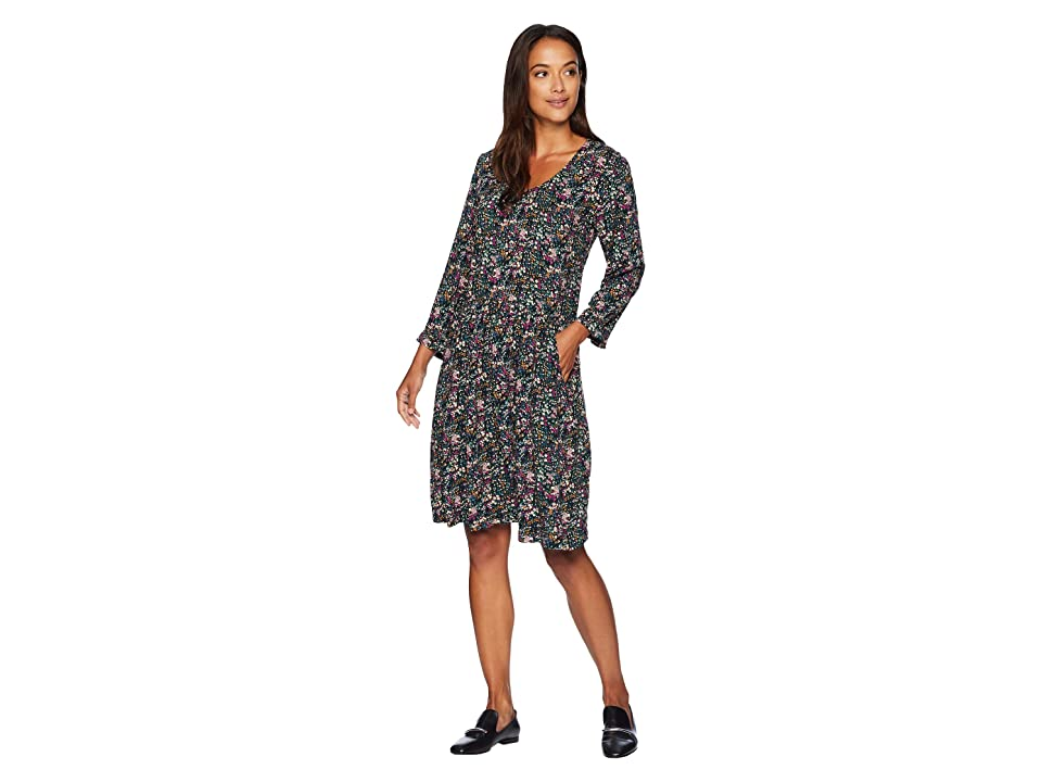 Mod-o-doc Printed Rayon Challis 3/4 Sleeve Easy Fit Dress with Front Pockets (Blck Ditsy Floral) Women