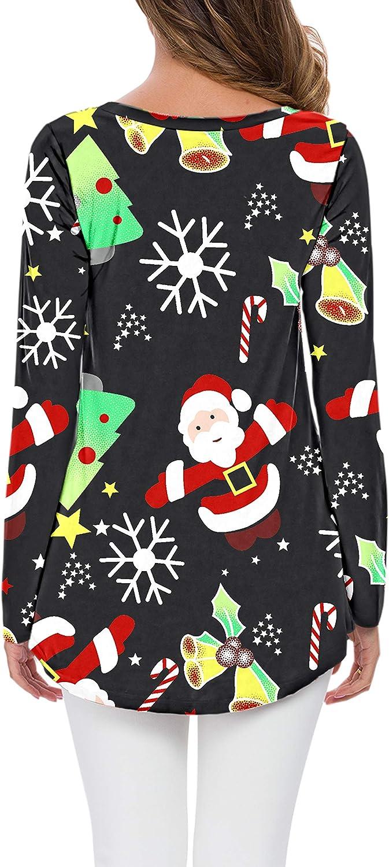 AUSELILY Damen T-Shirt Lange Ärmel V-Ausschnitt Lose Solide Tunika Bluse Tops Weihnachts Baum Santa