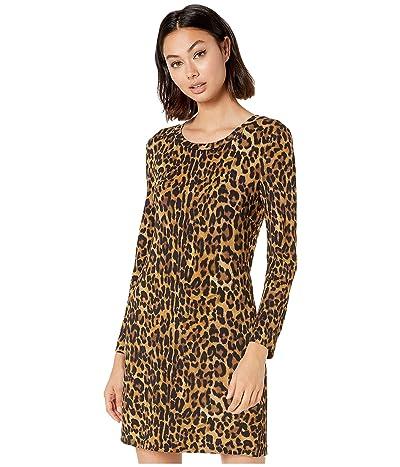 Nicole Miller Furry Leopard Long Sleeve Dress (Multicolor) Women