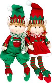 "SCS Direct Elf Plush Christmas Stuffed Toys- 12"" Boy and Girl Elves (Set of 2) Holiday Plush Characters"