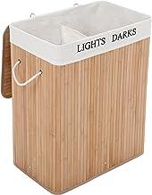 SONGMICS Wäschekorb aus Bambus, 100 L Wäschesortierer mit 2 Fächern, faltbarer Wäschesammler mit herausnehmbarem Wäschesack, rechteckige Wäschebox, 52 x 63 x 32 cm, naturfarben, LCB64Y