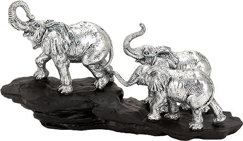 Deco 79Poly-Stone éléphant 14par 20,3cm
