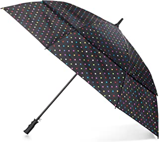 Totes Automatic Open Windproof and Water-Resistant Golf Umbrella, Bright Dots