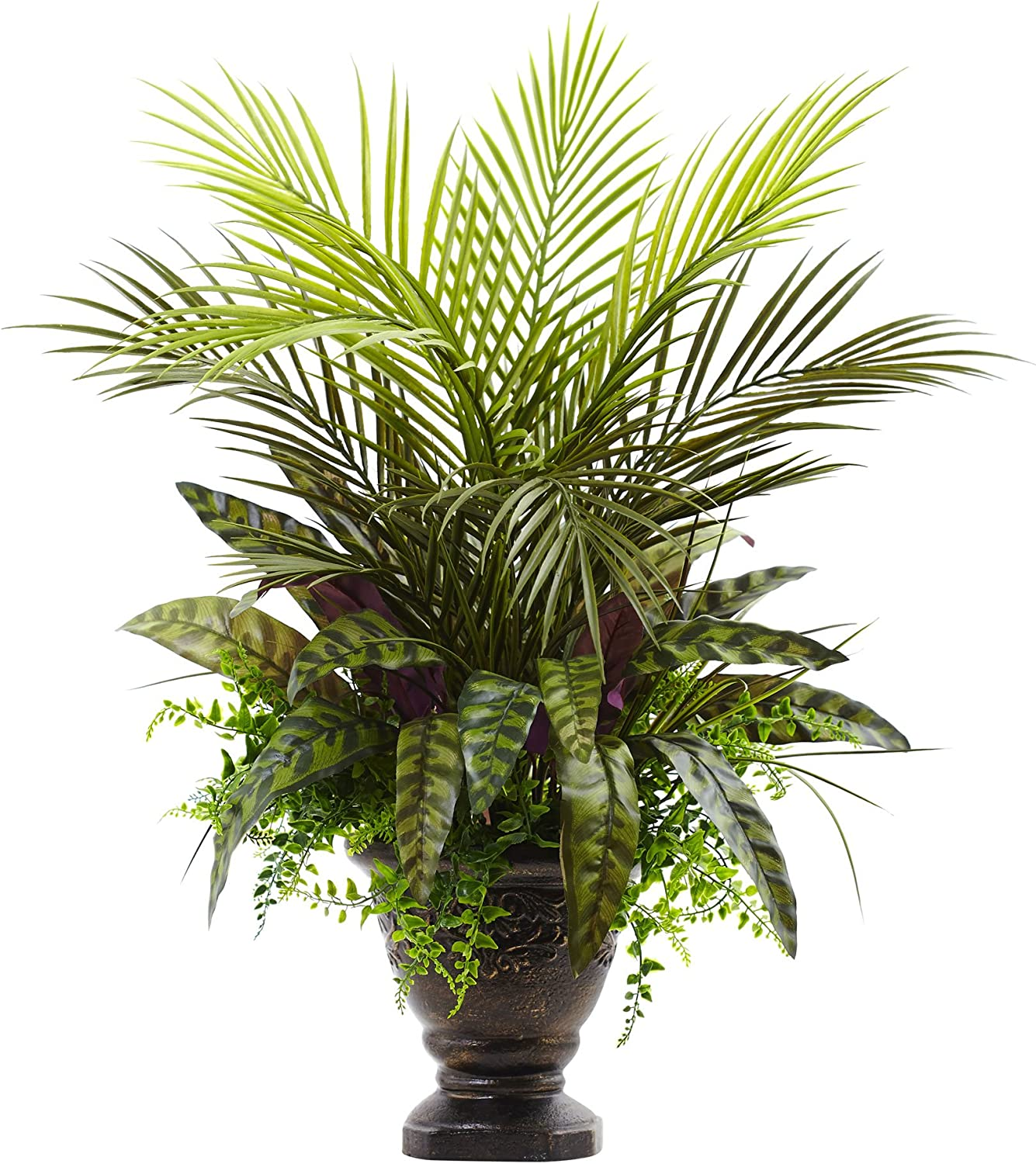 Nearly Natural 6828 Mixed Max 57% OFF Areca with Plante Max 58% OFF Palm Fern Peacock