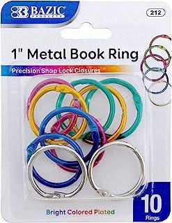 """BAZIC 1"""" 1.5"""" 2"""" Metal Book Rings 1 Unit"""