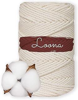 Loona - Makramee Baumwollgarn aus 100% weicher Baumwolle, 2mm 200m, Baumwollkordel, Garn, 3-Fach gedrehtes Baumwollseil, Natürliche Farbe, Macrame, Textilgarn, Kordel, Baumwollkordel, Schnur