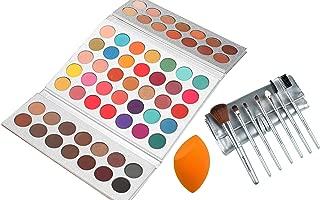 Beauty Glazed Sweatproof Eyeshadow Palettes + Makeup Brushes Set + Sponge Blender Pigmented 63 Pop Colors Matte Shimmer Metallic Blendable Soft Cream Powder Makeup Eye Shadow Palettes for Beginners
