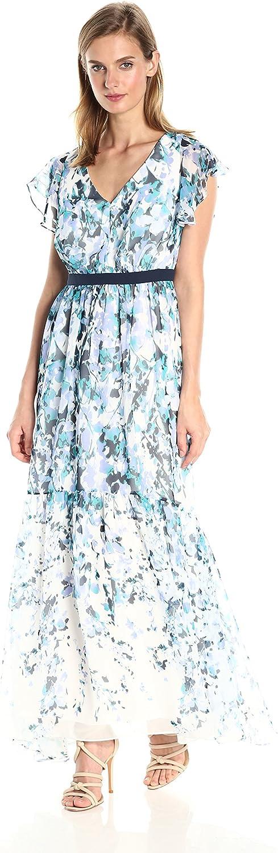 Adrianna Papell Womens Floral Cascade Maxi Dress