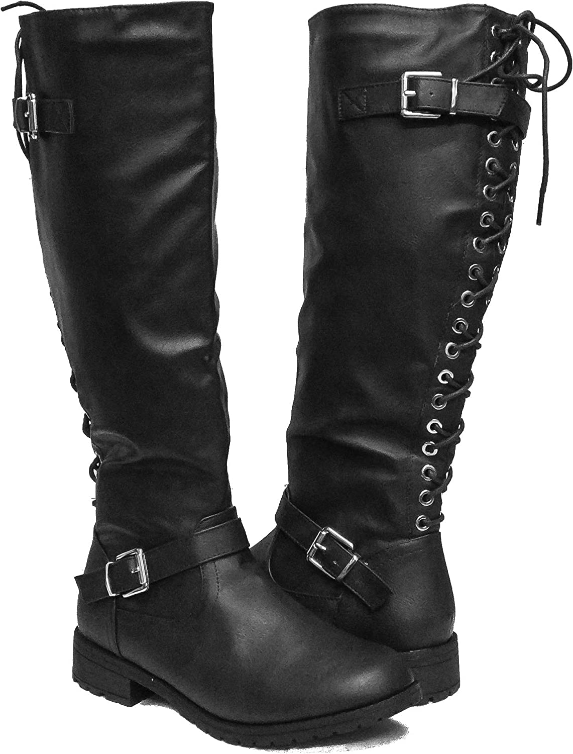 Bellmora Women's Gliding-1 Faux Leather Back Lace-Up Riding Boots - by Top Moda
